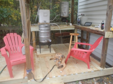 Picture of My brew-to and and brewing assistant (dog)